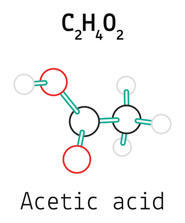 acetic acid: C2H4O2 acetic acid 3d molecule isolated on white Illustration