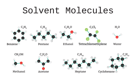 solvent: Solvent molecules set isolated on white in vector