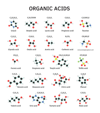 benzoic: Organic acids molecules set isolated on white Illustration