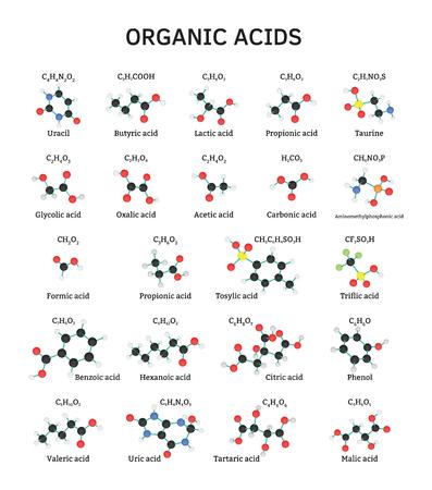 benzoic: Organic acids molecules set isolated on white Illustration