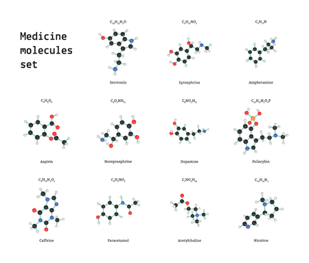 acetylcholine: Medicine molecules set isolated on white in vector