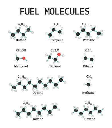 Fuel Molecules set isolated on white in vector Illustration