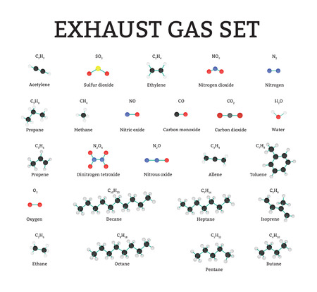 methane: Exhaust gas molecules set isolated on white Illustration