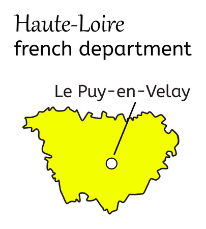 Haute-Loire french department map on white in vector Illustration