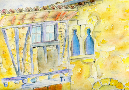 lean on hands: Hand drawn watercolor sketch of a France french village house illustration isolated on white