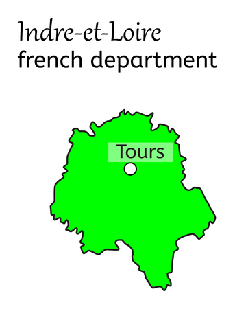 Indre-et-Loire french department map on white in vector Illustration