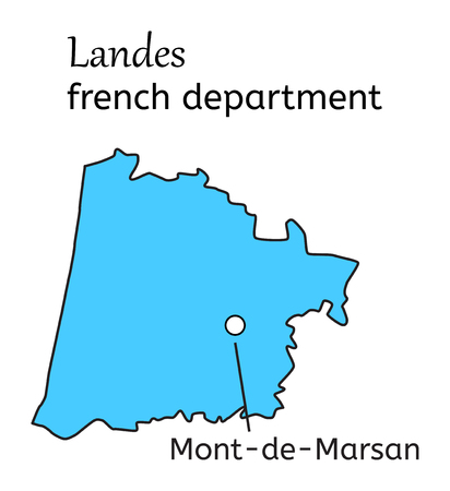 landes: Landes french department map on white in vector Illustration