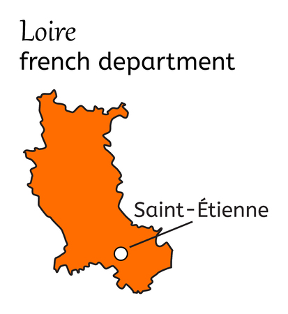 Loire french department map on white in vector Illustration