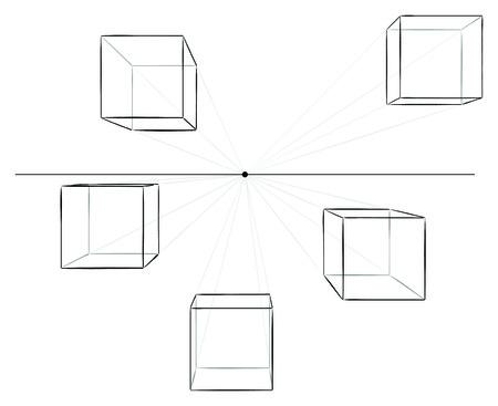 perspectiva lineal: Conjunto de cinco cubos dibujados a mano en la perspectiva lineal con un punto de desaparecer aislado en blanco