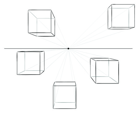vanish: Set of five hand drawn cubes in linear perspective with one point of vanishing isolated on white