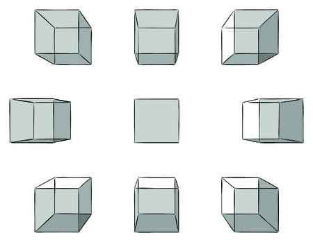 perspectiva lineal: Conjunto de diez cubos dibujados a mano con sombras en perspectiva lineal con un punto de desaparecer aislado en blanco