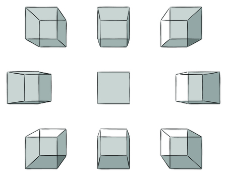 vanishing point: Set of ten hand drawn cubes with shadows in linear perspective with one point of vanishing isolated on white Illustration