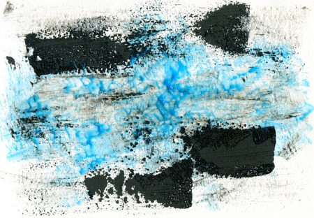 acryl: Hand drawn color acryl sketch of an abstraction paining blue and black illustration