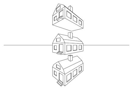 perspectiva lineal: Lineal perspectiva arquitectónica 3D moderno modelo de casa aislada en blanco