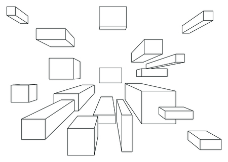 vanishing point: Many cubes in linear perspective with one point of vanishing isolated on white
