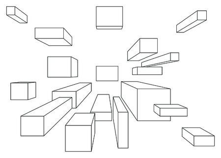 perspectiva lineal: Muchos cubos en perspectiva lineal con un punto de desaparecer aislados en blanco