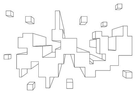 perspectiva lineal: forma rectangular en la perspectiva lineal con un punto de desaparecer aislado en blanco