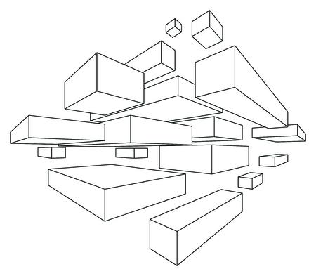 perspectiva lineal: formas rectangulares en perspectiva lineal con dos puntos de desaparecer aislados en blanco