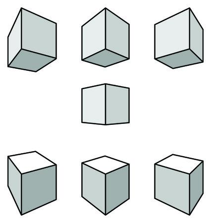 perspectiva lineal: Conjunto de siete cubos con sombras en perspectiva lineal con dos puntos de desaparecer aislado en blanco