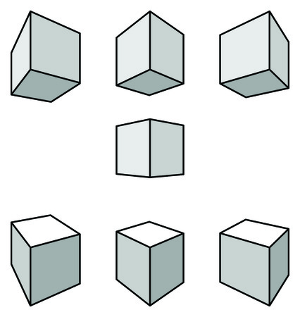 perspectiva lineal: Set of seven cubes with shadows in linear perspective with two point of vanishing isolated on white