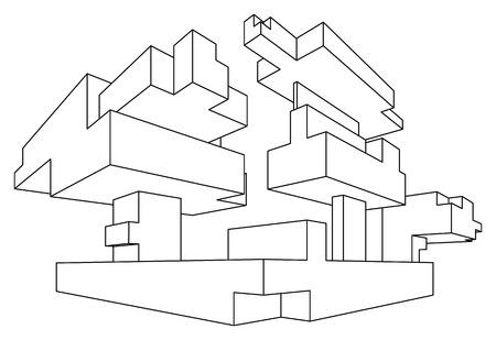 Rechthoekige vorm in lineair perspectief met twee punten te verdwijnen op wit wordt geïsoleerd