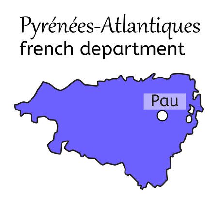 Pyrenees-Atlantiques french department map on white in vector Ilustrace