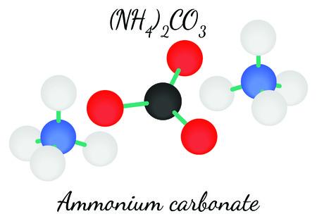 amoniaco: carbonato de amonio molécula N2H8CO3 aislado en blanco Vectores