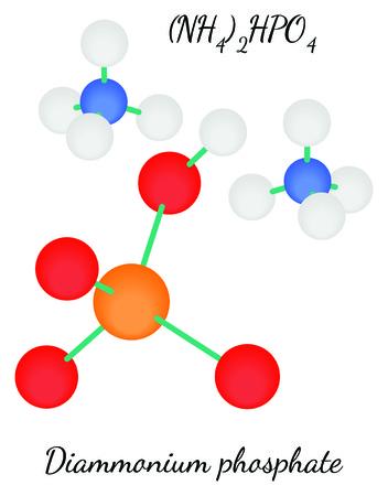 hidrógeno: fosfato diamónico N2H9PO4 molécula en el vector en blanco
