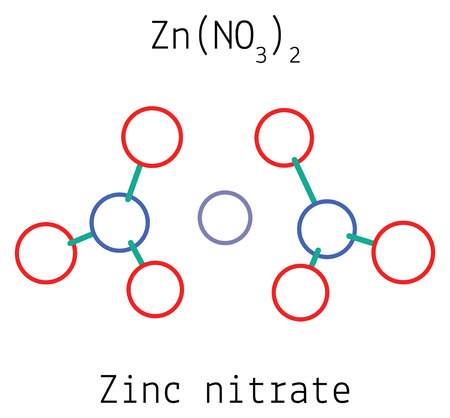Zinc nitrate ZnN2O6 molecule isolated on white Illustration