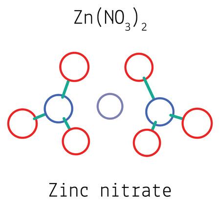 zinc: Zinc nitrate ZnN2O6 molecule isolated on white Illustration
