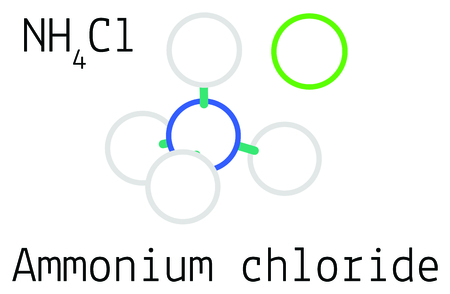 Ammonium chloride NH4Cl molecule isolated on white