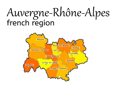 regions: Auvergne-Rhone-Alpes french region map on white in vector
