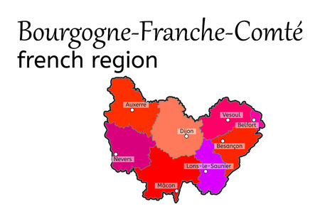 regions: Bourgogne-Franche-Comte french region map on white in vector