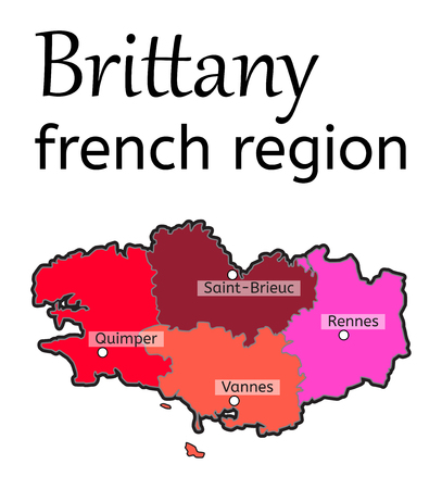brittany: Brittany french region map on white in vector