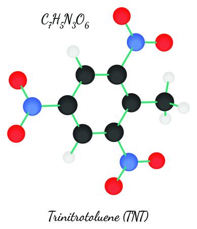 Trinitrotoluene TNT C7H5N3O6 molecule isolated on white