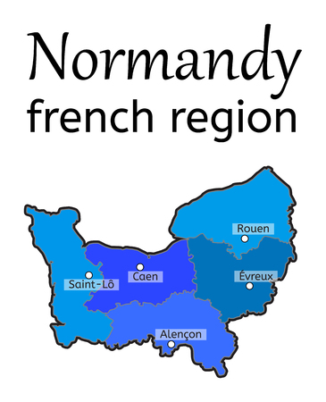 normandy: Normandy french region map on white in vector Illustration
