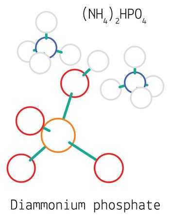 Diammonium phosphate N2H9PO4 molecule iolated on white in vector