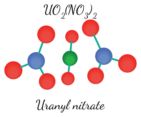 Uranyl nitrate UO2N2O6 molecule isolated on white Illustration