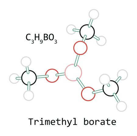 molecule C3H9BO3 Trimethyl borate