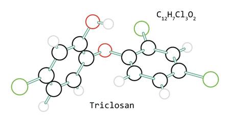molecule C12H7Cl3O2 Triclosan Illustration