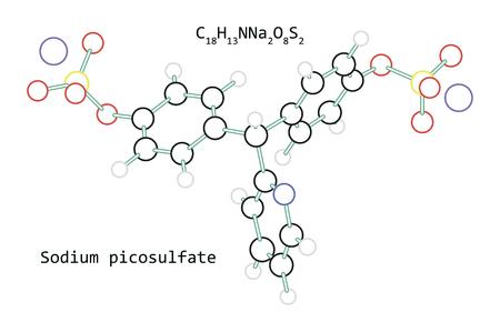 molecule Sodium picosulfate C18H13NNa2O8S2 isolated on white Illustration