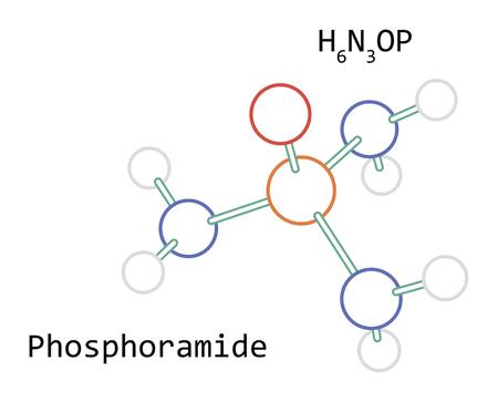 molecule H6N3OP Phosphoramide Illustration