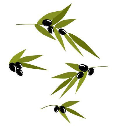 Black olive branch, isolated vector illustration, menu item. Ilustracje wektorowe
