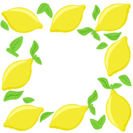 Lemon frame, yellow fruits and leavec. Vector painting art