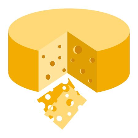 Cheese piece with holes, Maasdam, Swiss art. Vector Illustration isolated on white background
