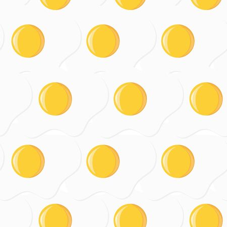 Scrambled fried eggs. Seamless pattern. Breakfast vector background Illustration