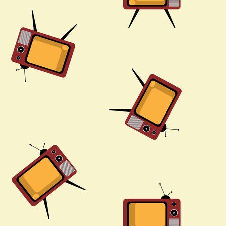 Tv movie retro broadcast seamless pattern. Colorful abstract vector background. Illusztráció