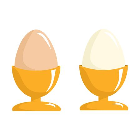 Eggs set in a holder, cup. Menu restaurant. Natural ecological product. Healthy food. Dietary meal. Easter symbol. Vector illustration