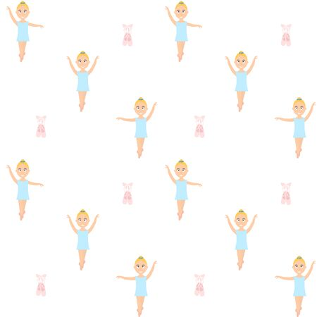 Small ballerina. Seamless ballet themed repeat vector pattern background.