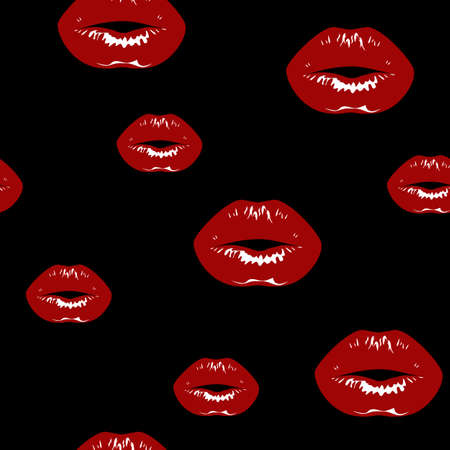 Red lips prints with gloss. Vector seamless background.